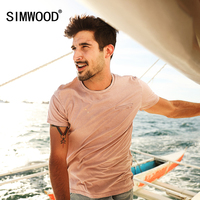 SIMWOOD 2017 Summer New T Shirts Men 100 Pure Cotton Vintage Fashion Casual Tops Slim Fit