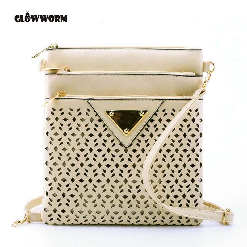 GLOWWORM Women Messenger Bag Hollow Out bolsa feminina bolso mujer Leather Shoulder Bag Small Crossbody Bags