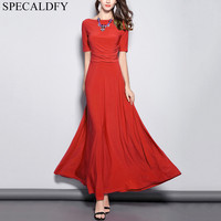 Summer Maxi Dresses For Women Short Sleeve O Neck Elegant Black Red Long Party Dress Ladies Plus Size Dress Robe Femme Ete 2018