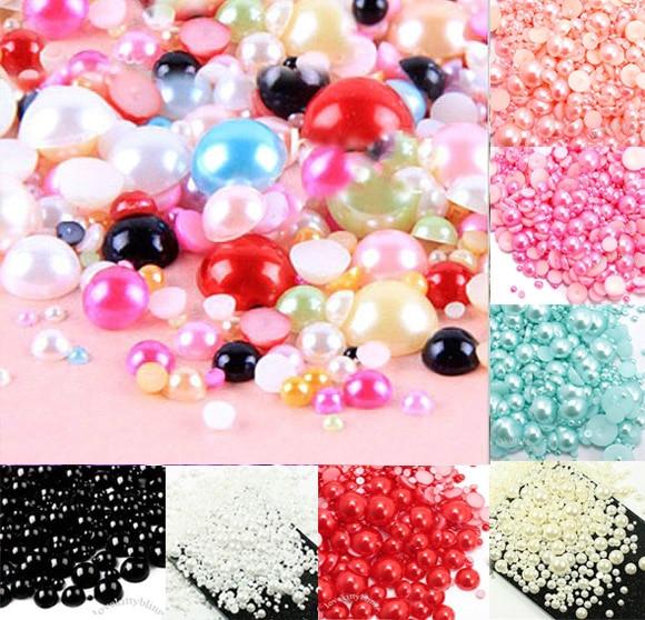 500 шт. смешанные мм 2-10 мм Красочные полукруглые жемчужные бусины Ремесло Кабошон Украшение для скрапбукинга Flatback Дизайн Ногтей Бисер для одежды DIY