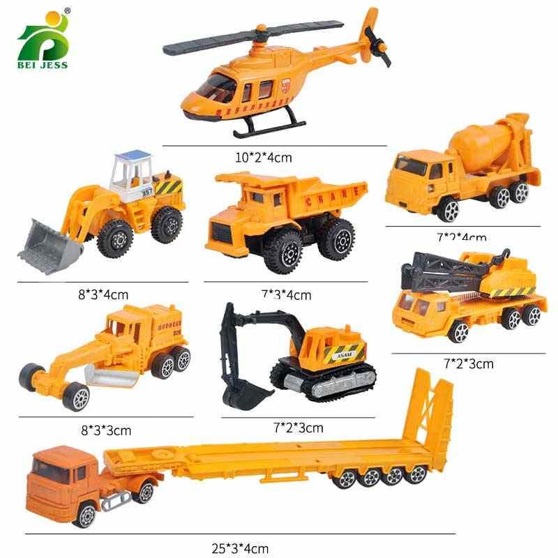 Bei Jess 20 Buah/Set Paduan Logam Kota Teknik Mobil Traktor dan Polisi Tank Militer Pesawat Model Diecast untuk Anak-anak Anak mainan