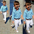New Fashion Boys Clothes Set Kids Loose-fitting Cotton Plaid Shirt+ Pants+ Belt 3 pcs Minion Kids Clothing Set