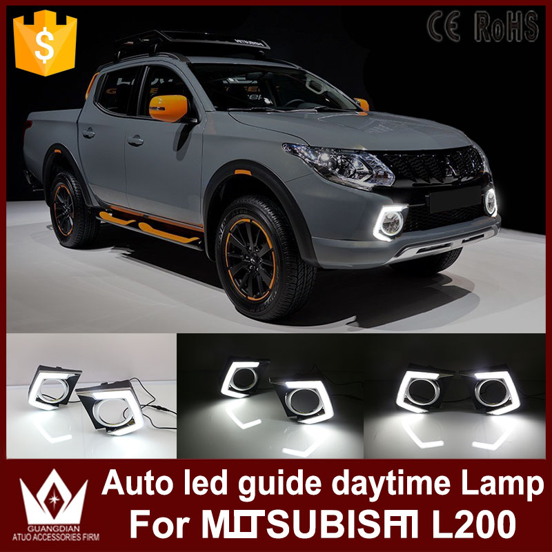 Tcart auto led daytime running for Mitsubishi Triton L200  2015 2016 drl car headlight  led guide lighting ветровики prestige mitsubishi l200 triton strada 99 06