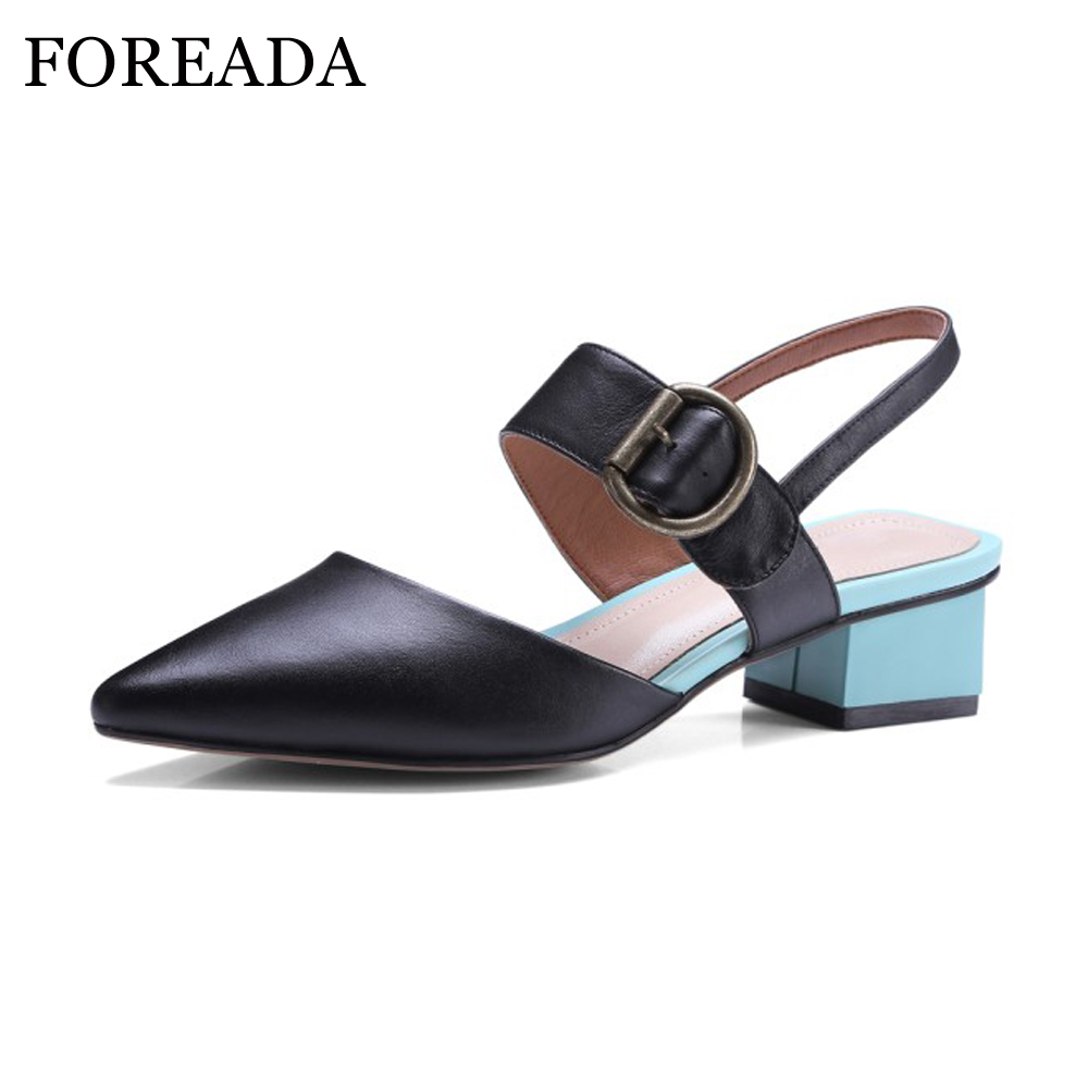FOREADA Genuine Leather Shoes Women Slingbacks Pumps Buckle Strap Thick Med Heels Pointed Toe 2018 Shoes Spring Casual Shoes shofoo 2017 new arrive women mature med heels pointed toe buckle strap pumps dress