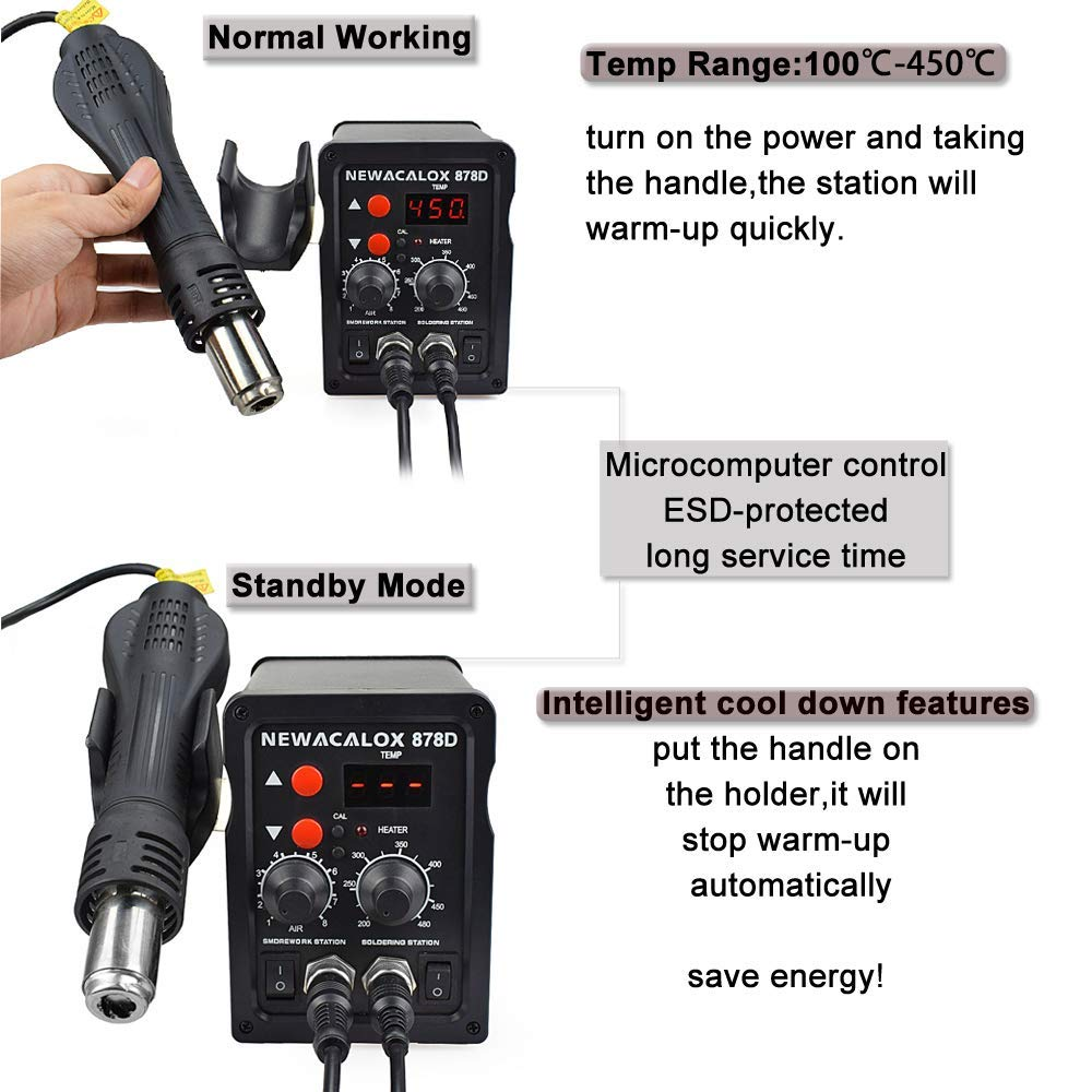 NEWACALOX 8786D Digital Soldering Station for Welding and Hot Contraction Heating 19
