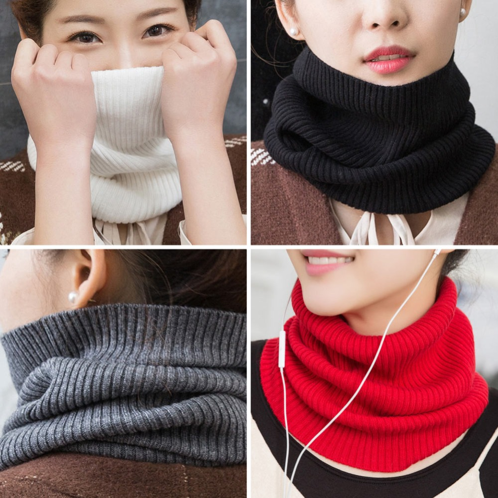 Sparsil Women Cashmere Knit Ring Scarves 42cm Neck Warmer Solid Color Elastic Comfort False Collar Female Winter One Loop Scarf