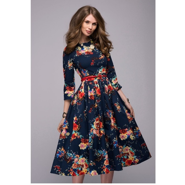 91f25f17653d Women casual knee-length dress 2018 new arrival long sleeve printing summer  dress for offical lady Women loose vestidos