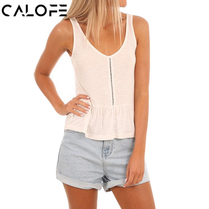 CALOFE Summer Tank Top Women Sexy Hollow Out Fashion Solid Women Shirt Vest Summer Patchwork Casual Woman Ruffle Camisole Tank