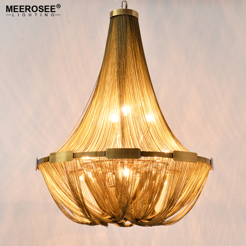 New Arrival Aluminum Chain Chandelier French Empire Bronze Color Post Chain Illumination Hanging Lamp for Living room Hotel