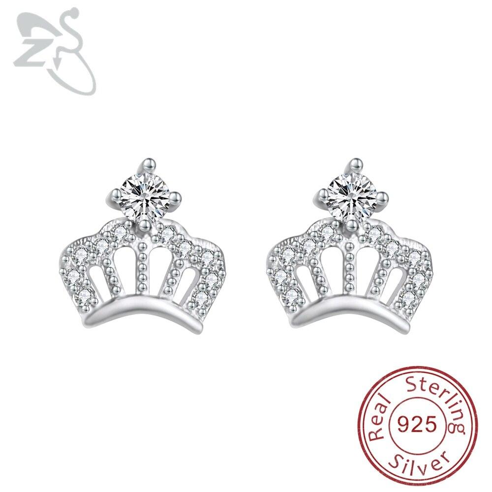Us 5 91 26 Off Zs Princess Crown Earrings 925 Sterling Silver Stud Cubic Zirconia Ear Studs Jewelry For Women S In