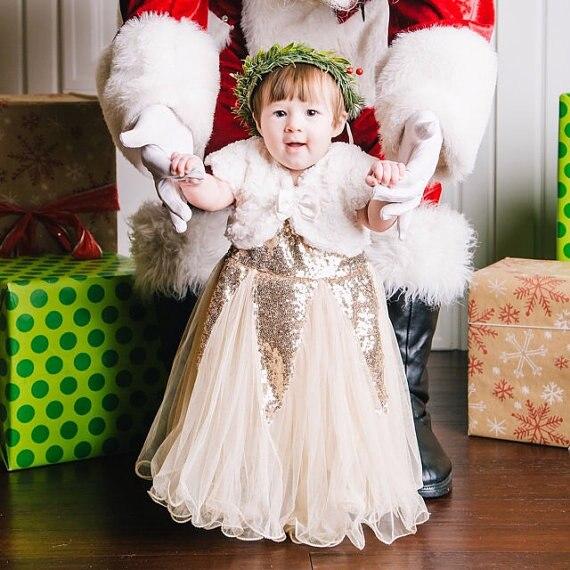 Baby Glitter Goud Jurk Baby Meisje Verjaardag Outfit Gold Sequin
