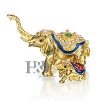 H & D Hochzeit Decor Vintage Schmuck Schmuckschachtel Elefant Mit Baby Figurine Geschnitzt Legierung Box Metall Handwerk Weihnachtsgeschenk für Dame