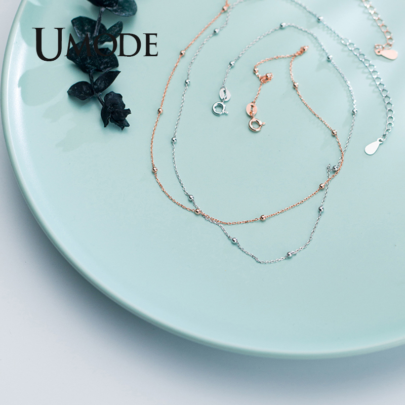 UMODE 2019 New Fashion 925 Sterling Silver Choker Necklaces for Women Gold White Rose Gold Long Link Chian Jewelry Kolye ALN0452 in Necklaces from Jewelry Accessories