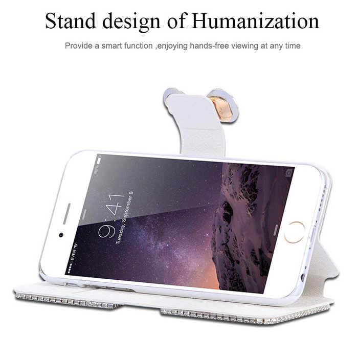 高級 3D ラインストーンダイヤモンド弓ブリンブリン Pu レザー財投カバーカード財布ケース iphone 4 4 s 5 5 s 、 se 6 6 S 7 8 プラス X XR XS 最大