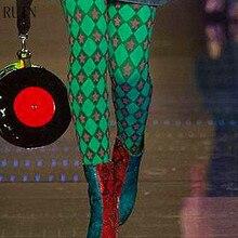 Испортить Женская Колготки зеленые клетчатые Принт звезды Колготки женские колготки для девочек 40D