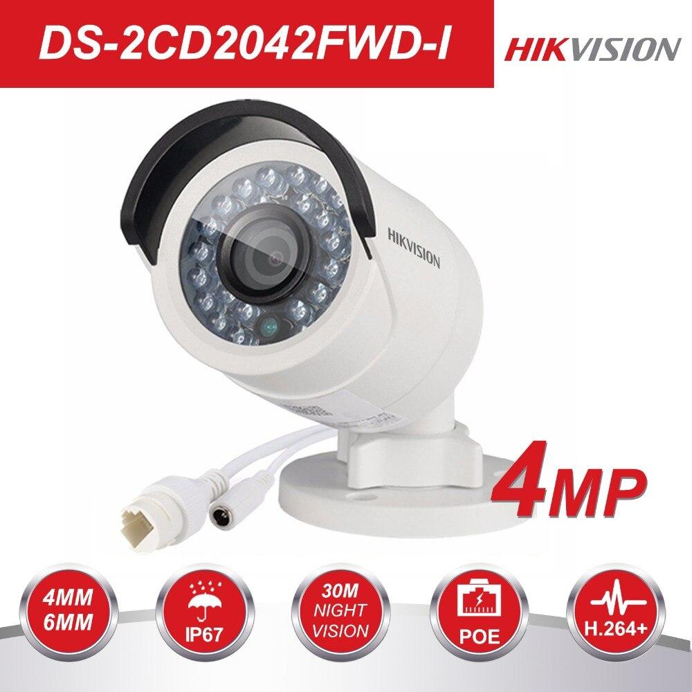 HIKVISION CCTV IP Kamera DS-2CD2042WD-I 4MP Kugel Sicherheit IP Kamera mit POE Netzwerk kamera Sicherheit Kameras Überwachung