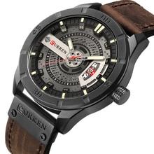 CURREN Männer Military Sport Uhren herren Quarz Datum Uhr Mann Casual Leder Armbanduhren Relogio Masculino