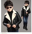 2016 winter Kids boys Plus velvet thick faux leather PU jacket coat  outer clothing comfortable baby Clothes Children Clothing