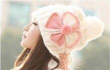 2015 Новых мужчин милые шляпы дамы зимний цветок вязать теплые шерстяные шапки осень зима шляпа хит цвет плетеный ухо теплым MZ0209