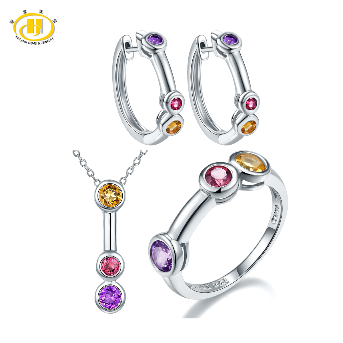 купить Hutang 3-stone Classic Multi-color Gemstone Jewelry Sets for Women Solid 925 Sterling Silver Ring Pendant Earrings Stylish Style онлайн