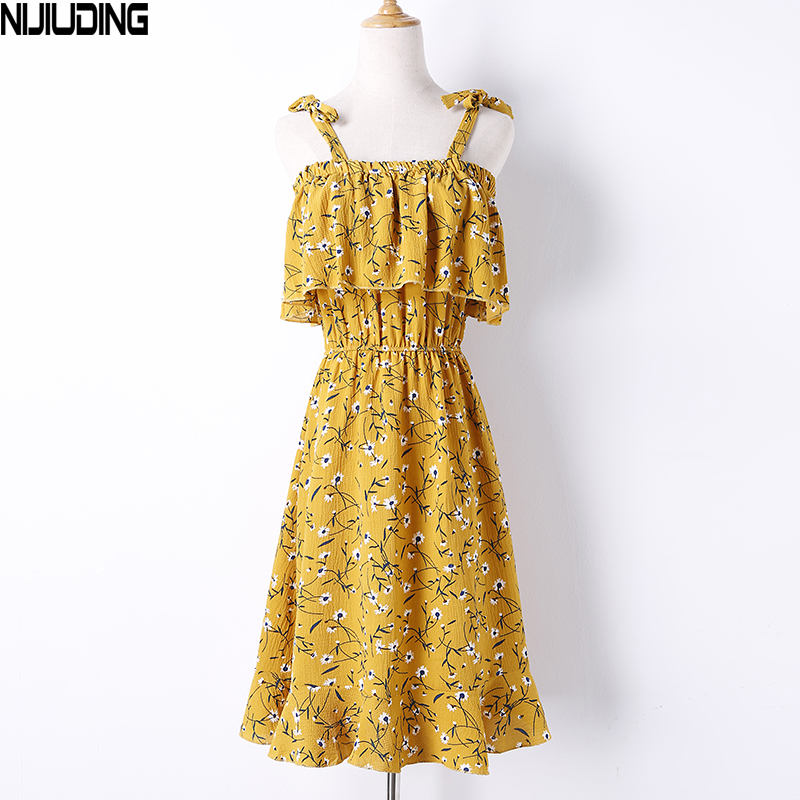 NIJIUDING Beach Summer Dress Women Sleeveless 5 Wearing Ways Dresses Floral Print Chiffon Camisole Ruffles Casual A-Line Dresses