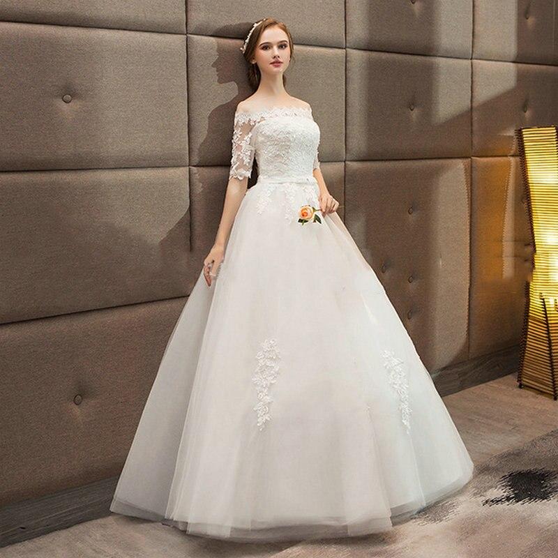 comprar lamya 2018 nuevo vintage vestido de noiva media manga encaje