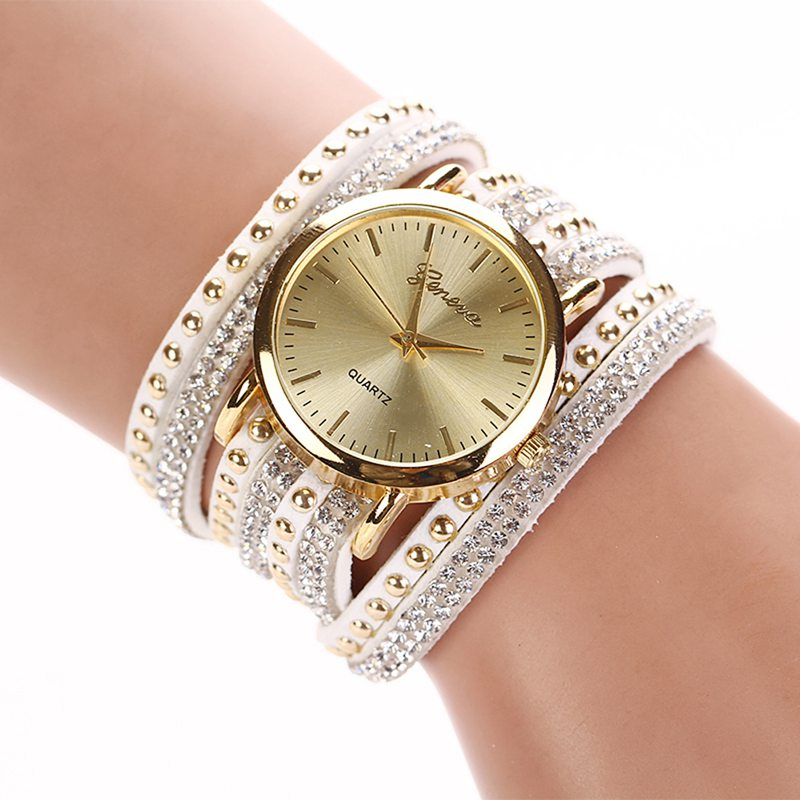 Creative Women's watches 2017 Ladies Fashion Quartz Watch Women rhinestone Leather Luxury ladies' watches with rhinestones