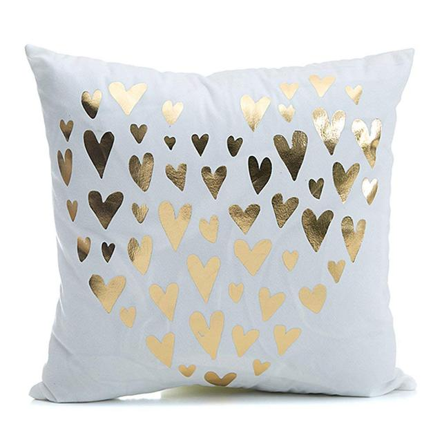 Cushion Cover Gold Printed Hot Pillow Cover Decorative Pillow Case Sofa Seat Pillowcase Soft | online brands