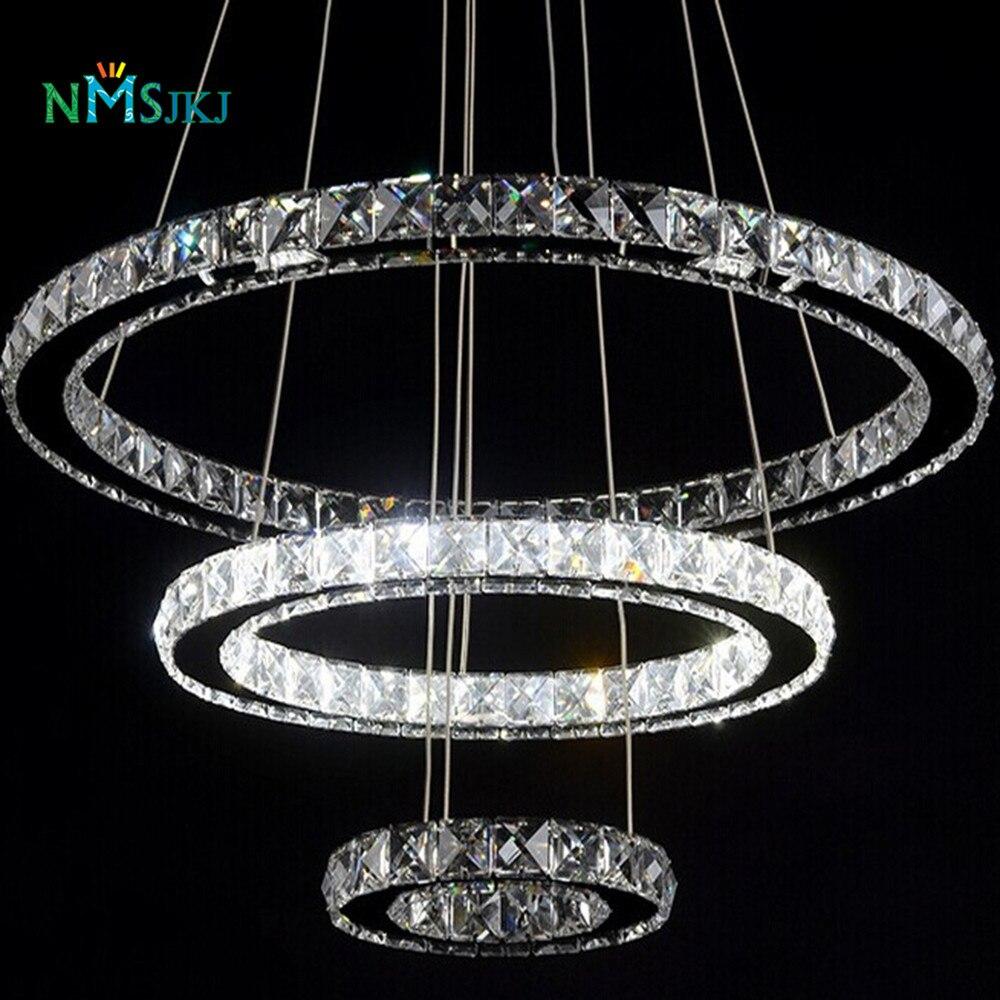 Glass Ring Chandelier: Modern Led Crystal Chandelier Light Fixture For Living
