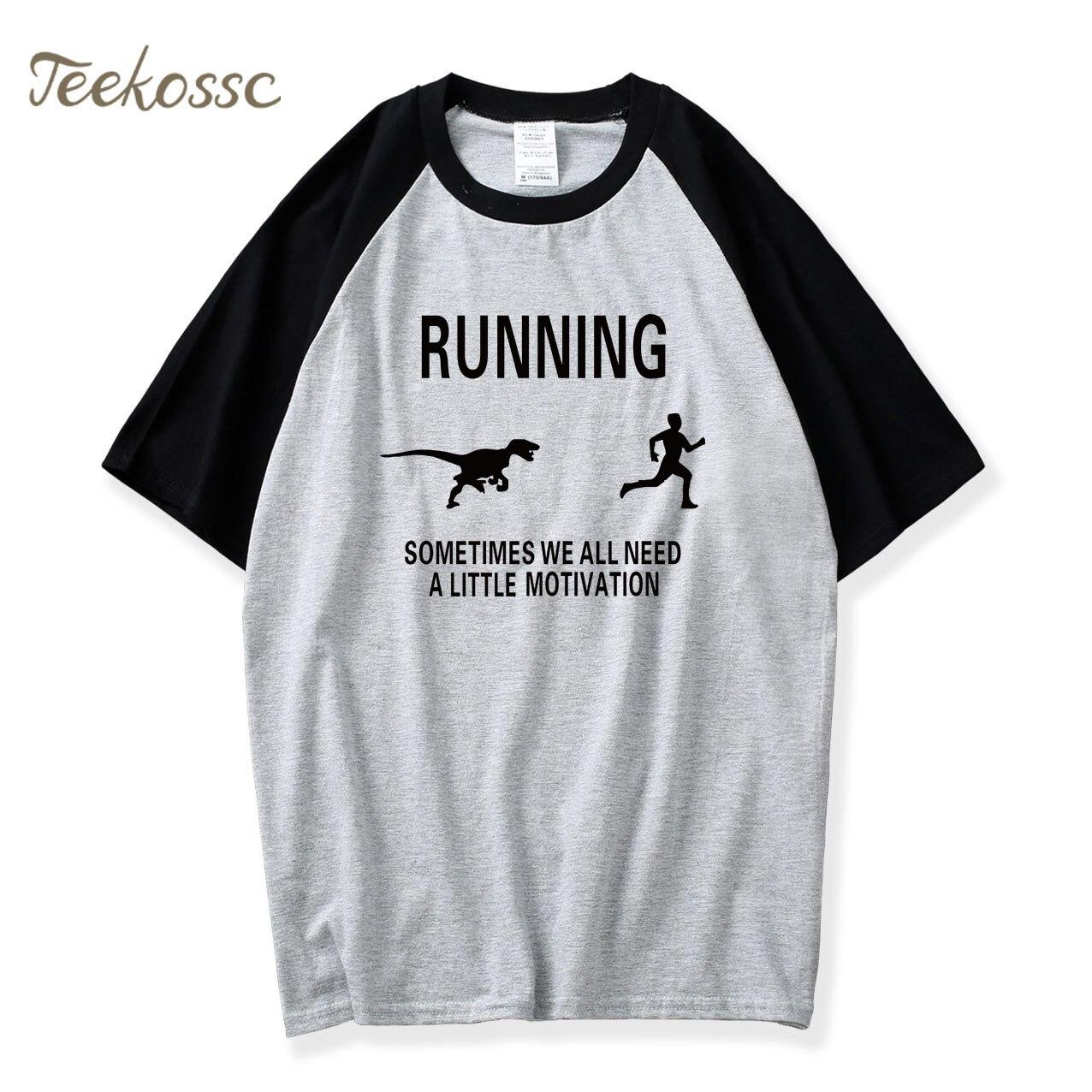 Mens  Motivation  Chase T Shirt Funny Dinosaur Tee For Guys 2018 New Summer Raglan Cotton Camisetas Hombre T-Shirt