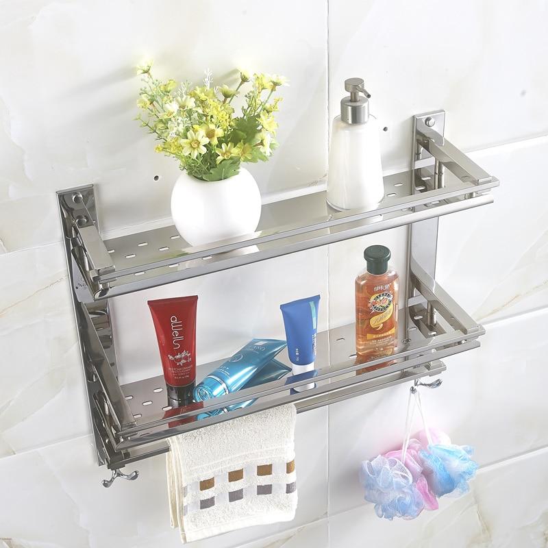 MTTUZK DIY Bathroom shelves 304 stainless steel double layer washing ...