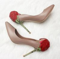 New Hot Selling Real Leather High Heel Shoes Sexy Pointed Toe Red Rose Decorations Stiletto Heels Woman Wedding Heels