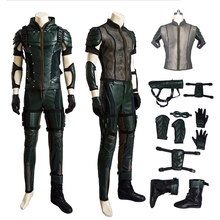 Hot Green Arrow Season 4 Oliver Queen Cosplay Costume Upgraded version Leather Hoodie Jacket Men Costumes for Halloween