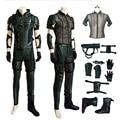 Superhero Man Green Arrow Season 4 Oliver Queen Cosplay Costume Leather Hoodie Jacket Men costumes for Halloween MZX-128-13