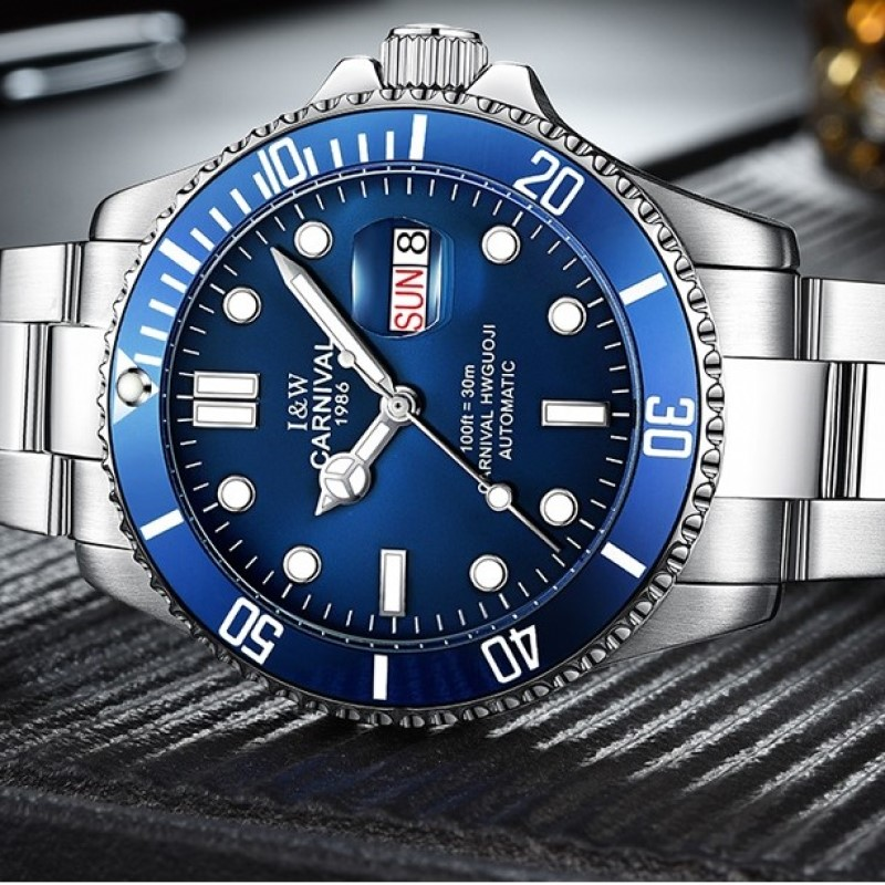 Professional Sport watch Water Ghost Series Classic Blue Dial CARNIVAL High end Automatic Watch Men Calendar