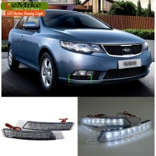 eeMrke Car LED DRL For Kia Forte 2010 2011 2012 2013 Xenon White DRL Fog Cover Daytime Running Lights Kits