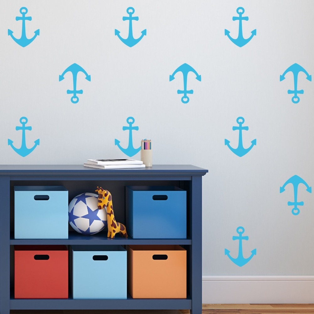 DIY 80 set Mini Anchors Wall Decal Removable Home Decoration Kids Room Wall Sticker Art Curved Vinyl Sticker For Boys Y 176 in Wall Stickers from Home Garden