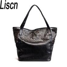 Для женщин Повседневное сумка модные сумки на плечо известный бренд Pu кожаные сумочки Винтаж заклёпки Bolsos Mujer большой ёмкость