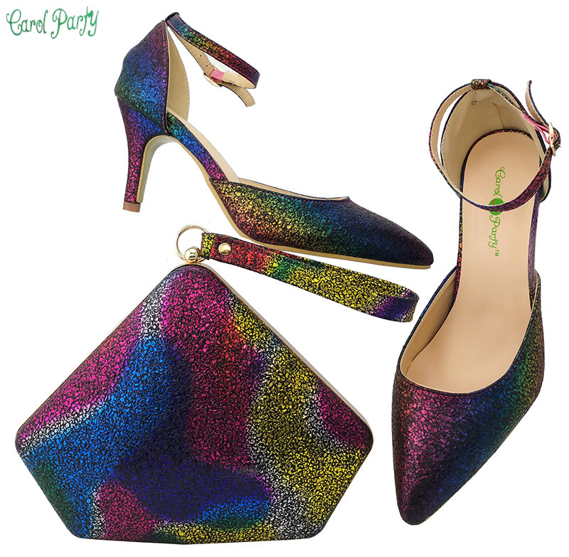2017 Newest italy colorful shoes and bag set to match african big lace fabric dress wedding party BCH-30 doershow african shoes and bags fashion italian matching shoes and bag set nigerian high heels for wedding dress puw1 19