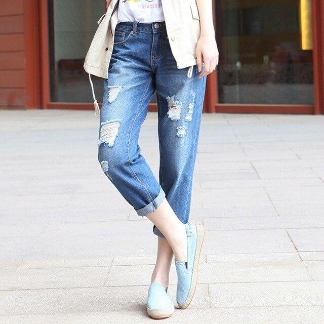 4183cc731aba2b New Fashion blue boyfriend jeans with holes baggy ripped jeans femme plus  size 6XL denim pants