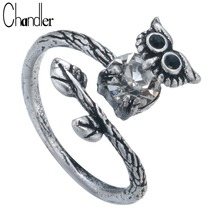 Chandler Antique Silver Night Owl Ring Bird Charming Wrap Cocktail Vintage Old Jewelry For Women Long Leaves Big CZ Crystal Band