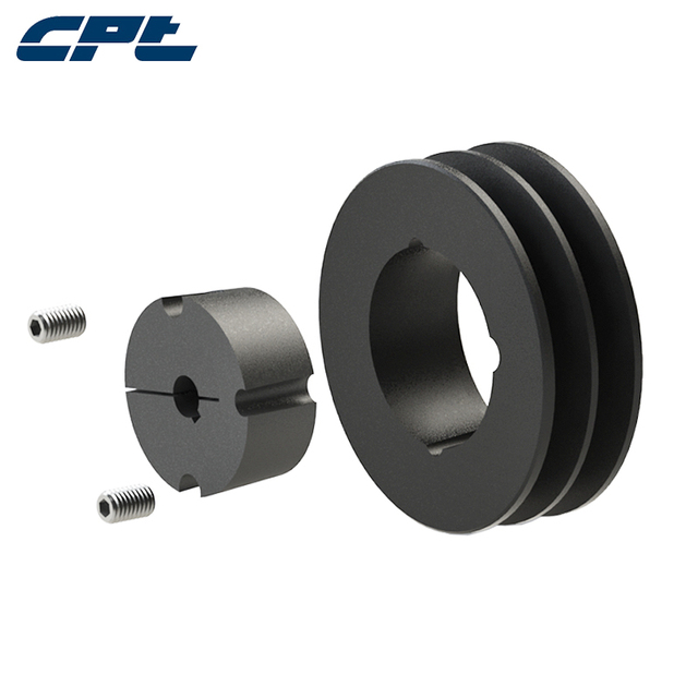 US $12 0 |CPT SPB pulley wheels for electric motors, 2 grooves, 107mm  outside diameter, 1610 taper bush for 42mm max shaft, SPB100 02 1610-in  Pulleys