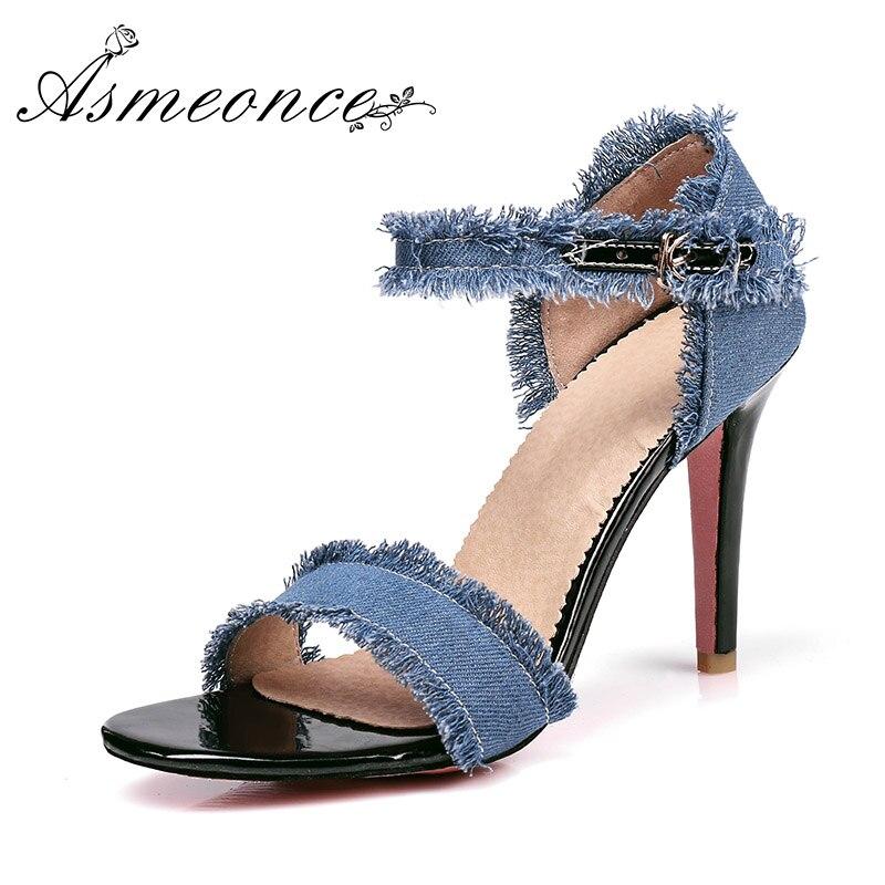 c46577556167 2019 Women Spring Summer Jeans Sandals Girls Denim Ankle Strap High Heels  Shoe Sexy Female Trade Sandals Stiletto Wedding Shoes