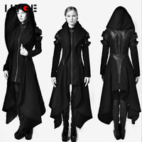 LLYGE Women Gothic Autumn Trench Coats 2018 Witner Female Fashion Overcoats Ladies Plus Size Hooded Slim Zipper Vintage Outwears