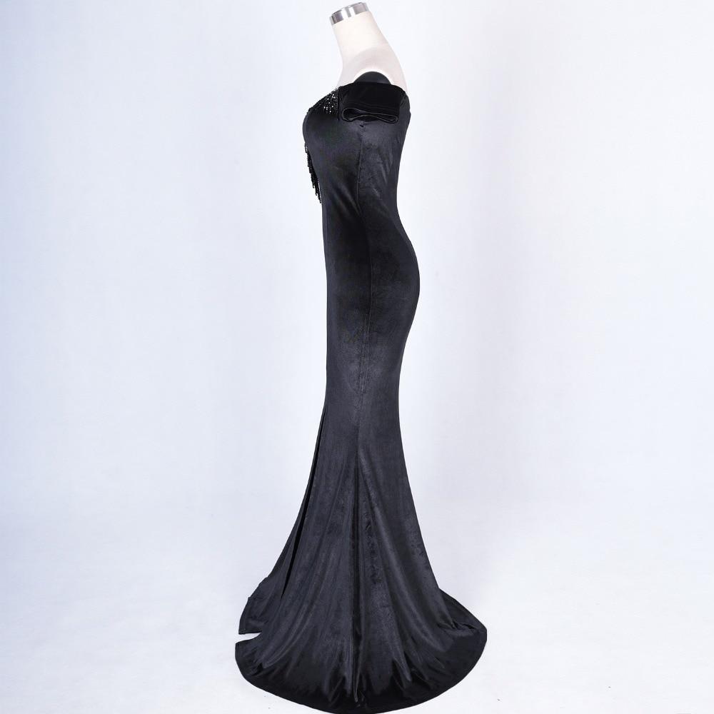 Women Elegant Sexy Appliques Velvet Wine Red Off Shoulder V-Neck Long Mermaid Slim Slit Club Party Dress Vestidos (39)