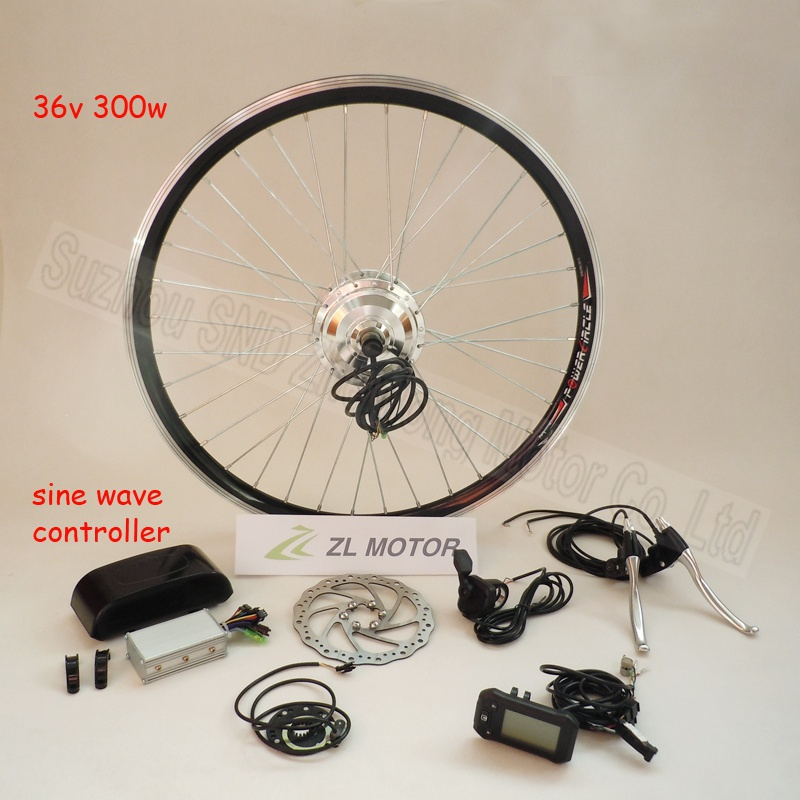 Electric Bicycle sine wave controller front conversion kit high speed spoke gear motor 300w 36V / LCD display G-S027 - Suzhou SND Zhenlong Motor Co. Ltd store