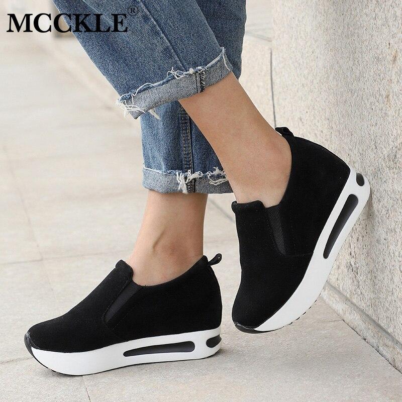 MCCKLE/Женская обувь на толстой резиновой подошве; женские мокасины без шнуровки; замшевые туфли с эластичным ремешком для шитья; Повседневная Осенняя обувь для женщин|Туфли|   | АлиЭкспресс