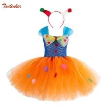 Girls Rainbow Tutu Dress With Headband Kids Halloween Circus Clown Costume For Children Photo Props Party Ball Gown