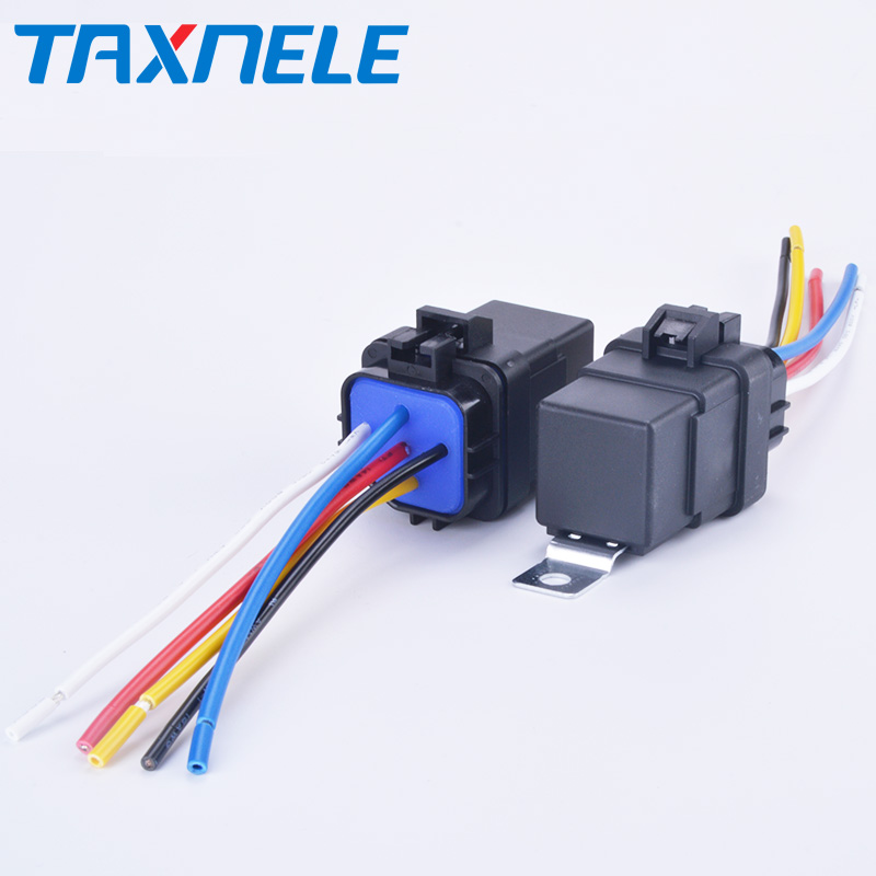 Automobile Relay Waterproof Integrated Wired  DC12V 24V 40A 5Pin 4pin Auto Relay + Holder With 105mm Length Wires
