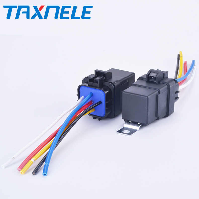 Automobile Relay Waterproof Integrated Wired  DC12V 40A 5Pin 4pin Auto Relay + Holder With 105mm Length Wires
